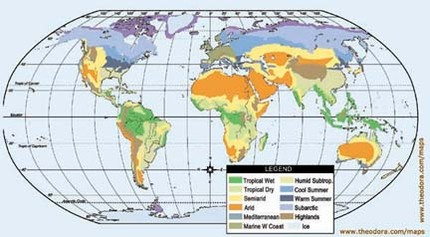 Climate tempatures desert biome climate in the desert is very warm very hot this map shows where the deserts are around the world gumiabroncs Choice Image